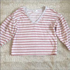Bp Cute & simple Sz xs red striped shirt cropped
